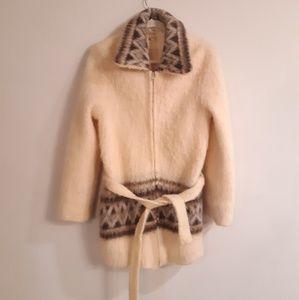 Alafoss Icewool Long  Belted Cardigan Sweater